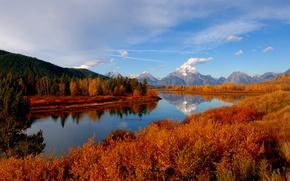 Обои гора, небо, река, осень, лес