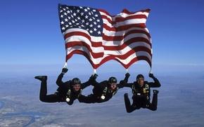 Картинка небо, спорт, риск, парашютисты, Американский флаг