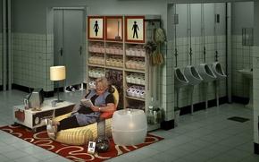 Обои Бабушка, туалет, работа