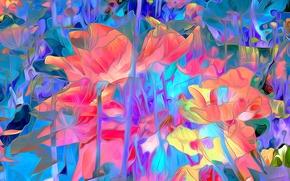 Картинка линии, цветы, рендеринг, краски, лепестки