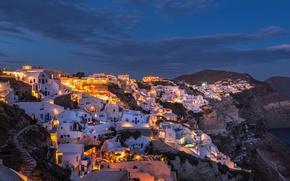 Картинка ночь, огни, остров, дома, Санторини, Греция