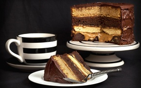 Картинка чашка, торт, вилка, кусок