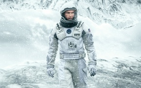 Картинка spacesuit, snow, Interstellar, movie, American flag, flag, Cooper, ice, film, cinema, man, 2014, Matthew Mcconaughey, ...