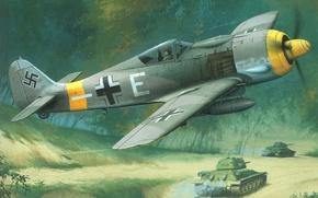Картинка небо, земля, рисунок, истребитель, танки, немецкий, Focke Wulf, Великая отечественная война, Fw190