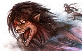 Картинка girl, sword, game, soldier, big, anime, red eyes, katana, muscles, Rogue, asian, giant, warrior, manga, …