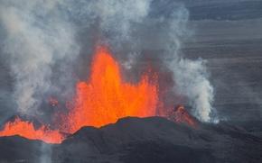 Картинка небо, вулкан, извержение, лава, Исландия, Баурдарбунга
