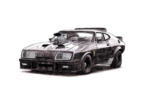 Картинка Авто, Рисунок, Форд, Car, Автомобиль, Art, Auto, Mad Max, Нагнетатель, Безумный Макс, V8, Ford Falcon …