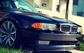 Картинка капот, BMW, Бумер, БМВ, Фары, спереди, бампер, Stance, E38, Bimmer, 750il