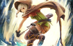 Картинка девушка, лук, капюшон, плащ, стрелы, колчан, dragon`s crown
