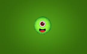 Обои зеленый, улыбка, green, монстр, мохнатый, monster, чудик, одноглазый