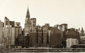Картинка город, река, здания, дома, Нью-Йорк, небоскребы, USA, США, Манхэттен, New York, Manhattan, NYC, New York ...