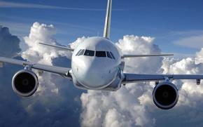 Обои самолет, полет, небо, авиация, облака