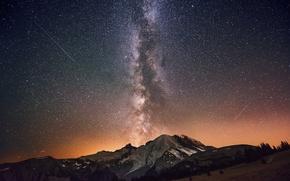 Картинка небо, звезды, горы, ночь, млечный путь