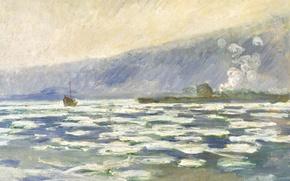 Обои Клод Моне, картина, корабль, горы, весна, пейзаж, Ледоход в Порт-Вале