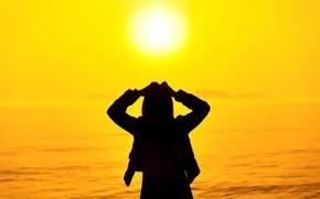 Обои море, лето, девушка, солнце, закат, природа, поза, фон, отдых, widescreen, обои, настроения, силуэт, wallpaper, girl, ...