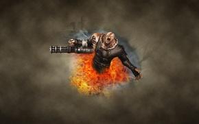 Картинка темный фон, зомби, обитель зла, Resident Evil, Nemesis, Немезиc, немезида, монстр, огонь