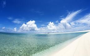 Обои песок, вода, берег, Облака