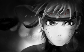Обои взгляд, символ, характер, чёрно-белая, Наруто, Naruto, кровь, повязка