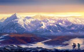 Обои небо, снег, горы, скалы, лыжи, рюкзаки, туристы
