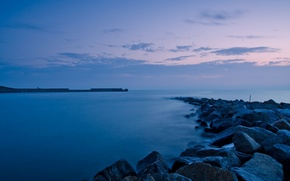 Картинка море, небо, пейзаж, природа, река, камни, фон, океан, widescreen, обои, вечер, wallpaper, sea, ocean, широкоформатные, …