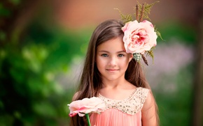 Картинка цветок, улыбка, девочка, beautiful eyes, child photography, Little Flower