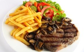 Обои мясо, салат, грибы, еда, картофель
