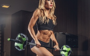 Картинка woman, workout, fitness, gym, dumbbell, weight bar