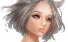 Картинка глаза, девушка, лицо, аниме, арт, шея, airspace