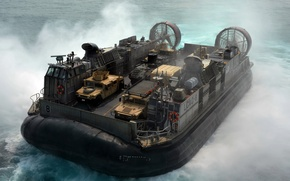 Картинка море, брызги, корабль, Хаммер, внедорожники, подушке, воздушной, броневики, hovercraft