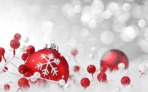 Картинка зима, красный, игрушки, шарик, декорации, Christmas, снежинка, праздники, боке, New Year, елочные, новогодние