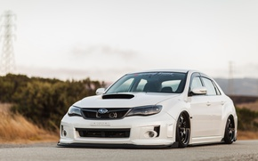 Картинка Subaru, WRX, STI, White, Sedan