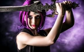 Картинка взгляд, девушка, оружие, фон, меч, макияж, пирсинг, яркие волосы