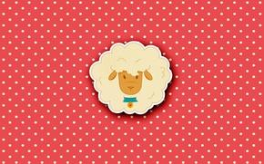 Картинка минимализм, зверьки, овечка, милота, в горошек