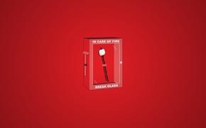 Обои красный, ящик, палочка, огонь