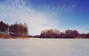 Картинка лед, лес, небо, облака, деревья, природа, озеро