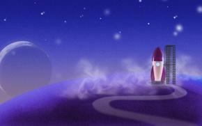 Обои синий, звезды, Ракета