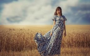 Картинка поле, лето, небо, девушка, ветер, платье, горизонт, колосья