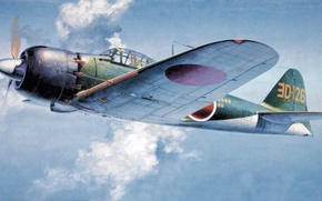 Картинка war, art, painting, aviation, ww2, Mitsubishi A6M5 Zero Fighter, japanese navy