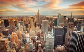 Картинка город, USA, США, Нью Йорк, небоскрёбы, sunset, New York City, buildings, downtown, skyscrapers