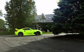 Картинка green, Nissan, tuning, 370z, vossen wheels, rearside