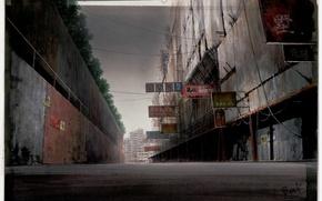 Картинка город, улица, забор, вывески, Призрак в доспехах, art, серое небо, Ghost in the shell, Masamune …
