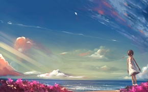 Картинка пляж, лето, облака, цветы, ветер, воздушный змей, девочка