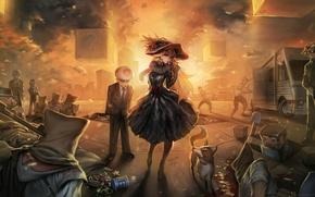 Картинка девушка, закат, шляпа, арт, куб, kratos, персонажи, minecraft, ezio auditore da firenze, steve, wario, master …
