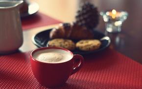 Обои breakfast, cappuccino, cookies, cornetto