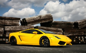 Картинка Lamborghini, wheels, Gallardo, black, yellow