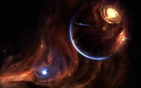 Обои планета, 157, звезды, взрыв