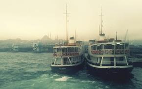 Обои туман, пристань, лодки