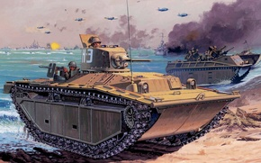 Картинка рисунок, арт, LVT(A)(1), Amtrac, лавающий трактор, AMphibious TRACKtor, Гусеничная десантная машина, Landing Vehicle Tracked