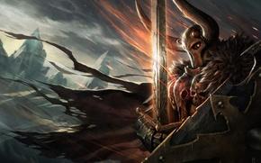 Обои Хаос, Воин, рога, плащ, клинок, Fantasy Battle, Warhammer FB, Chaos Knight