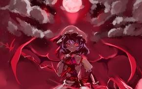 Обои vampire, вампир, крылья, remilia scarlet, луна, touhou, девушка, красные глаза, тохо